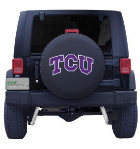 Texas Christian University Spare Tire Cover Black Vinyl Front