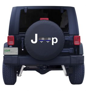 Jeep Heart Thin Blue Line Flag Tire Cover Front