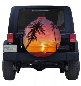 Tropical Beach Sunset Image Spare Tire Cover Jeep Wrangler