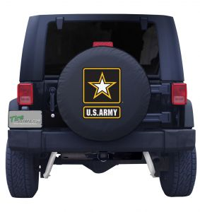 United States Army Spare Tire Cover Black Vinyl Front