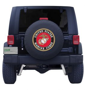 United States Marine Corps Spare Tire Cover Black Vinyl Front