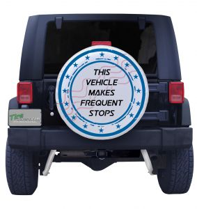 This vehilce makes frequent stop spare tire cover front