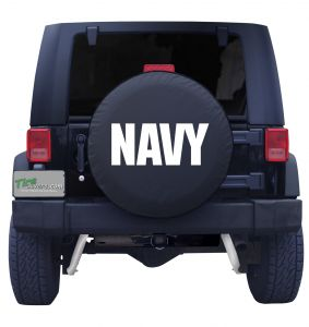 Navy Wording Tire Cover