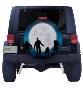 Walking Zombies Full Moon Tire Cover