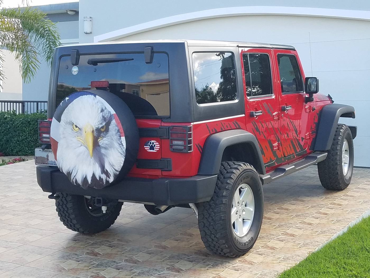 American Eagle with USA Flag Tire Cover