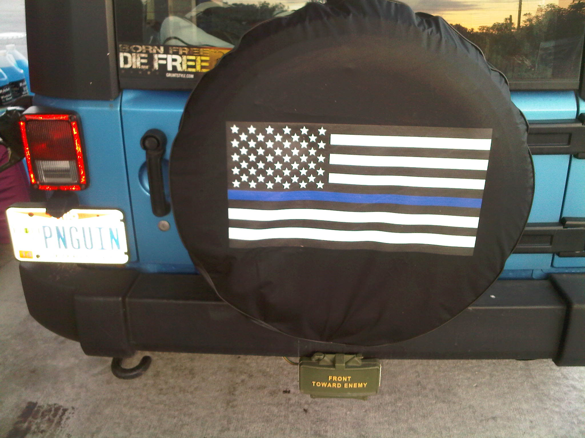 Back the Blue Line American Flag Tire Cover