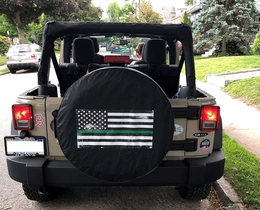 Thin Green Line Distressed Tire Cover