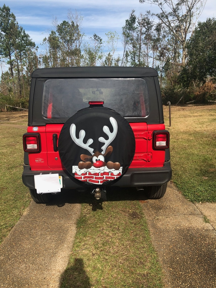 Rudolph the red nose reindeer tire cover