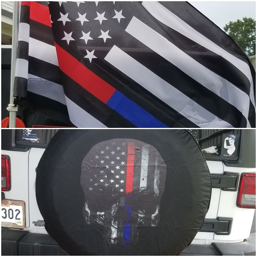 Back the blue line and red line tire covers