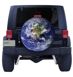 3D Globe Custom Tire Cover Front