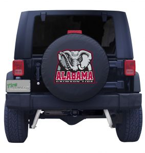 Spare Tire Cover University of Alabama on Black Vinyl with Elephant Logo Front