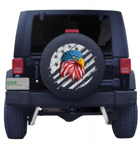 American Flag Eagle Outline Black Vinyl Front