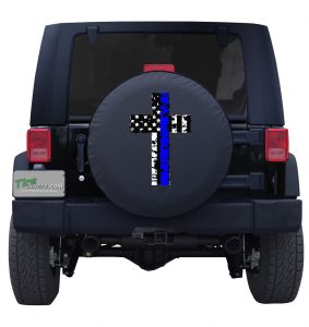Holy Cross Blue Line American Flag Tire Cover