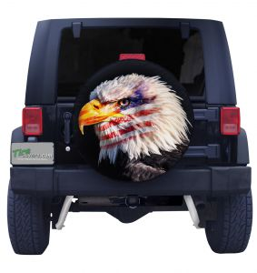 Eagle Eye with American Flag Tire Cover