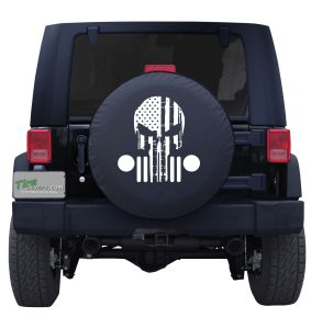 Punisher Skull with Patriotic Jeep Grill Tire Cover