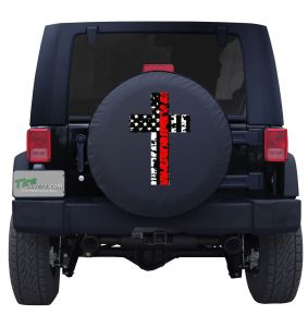 Holy Cross Red Line American Flag Tire Cover