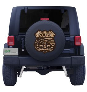 Route 66 Flag Road Sign Tire Cover Front