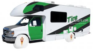 Arizona State Sun Devil Trident RV Tire Shade on White Vinyl Front