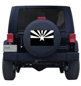 Arizona State Flag Black and White Tire Cover