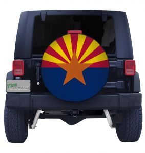 Arizona Flag Closeup Tire Cover Front
