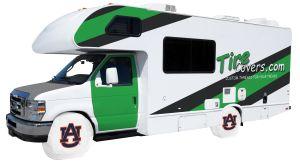 Auburn University Tigers White Vinyl RV Tire Shade Front