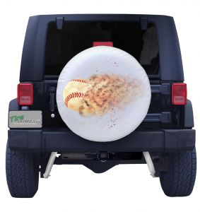 Home Run Crushed Baseball Spare Tire Cover on White Vinyl Front