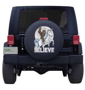 Bigfoot Riding a Unicorn Custom Tire Cover