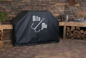 Bite Me Fishing Lure Logo Grill Cover