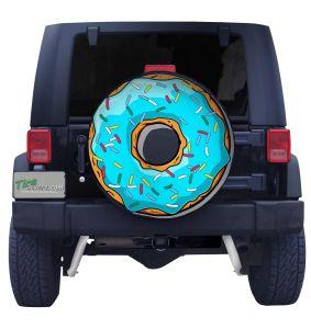 Blue Sprinkle Doughnut Tire Cover Front