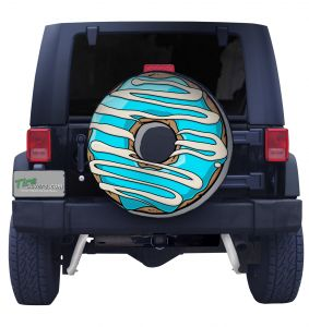 Blue Stripe Doughnut Spare Tire Cover Front