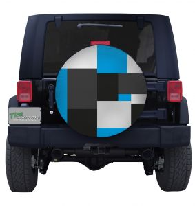 Large Blue Block Camouflage Tire Cover Jeep Wrangler