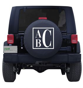 Boxed Monogram Custom Tire Cover Jeep Wrangler