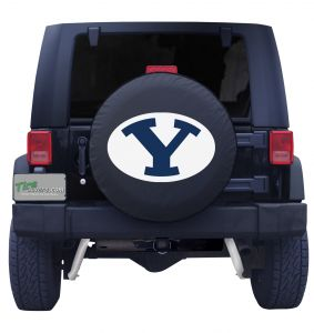 Brigham Young University Spare Tire Cover on Black Vinyl Front