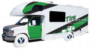 Brigham Young University RV Tire Shade Cover on White Vinyl Front
