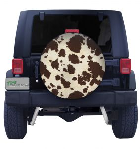 Brown and White Cow Print Spare Tire Cover Front