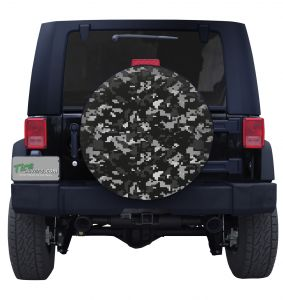 Black & White Digital Military Camouflage Tire Cover Jeep Wrangler