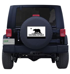 California State Flag Black and White Tire Cover