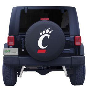 University of Cincinnati Spare Tire Cover on Black Vinyl Front