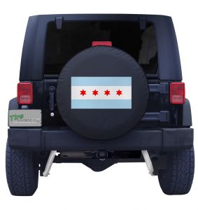 City of Chicago Flag Jeep Tire Cover