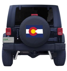 Colorado State Outline Flag Spare Tire Cover