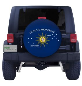 Conch Republic Flag Closeup Jeep Tire Cover