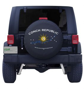 Custom Conch Republic Outline Flag Tire Cover