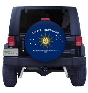 Custom Conch Republic Florida Keys Flag Closeup Tire Cover