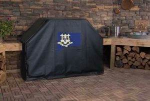 Connecticut State Outline Flag Logo Grill Cover