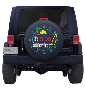 It's 5 O' Corona and Lime Neon Time Custom Tire Cover