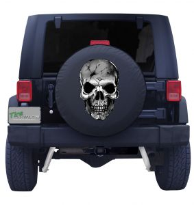 Black and White Skull Tire Cover