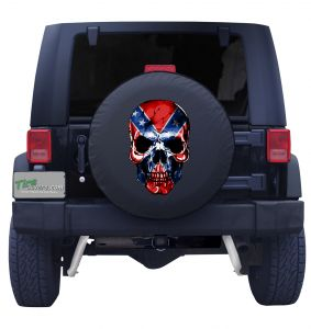Confederate Skull Flag X Tire Cover Front