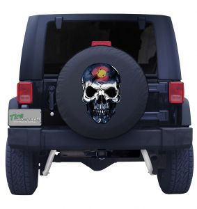 Colorado Skull Flag Tire Cover Front