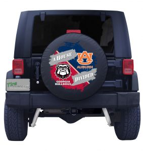 Georgia Bulldogs & Auburn House Divided Tire Cover