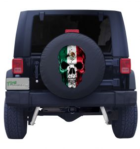 Mexican Skull Flag Tire Cover Front